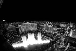 Fountains of Bellagio B+W by MarkHumphreys