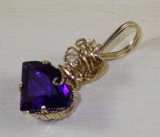 Fan Cut Amethyst Pendant by skezzcrom