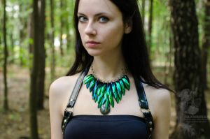 Necklace 'Dragon of the green forest' by Madormidera