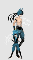 Pokemon Gijinka: Riolu and Lucario by girupon