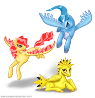 Legendary Birds of Kanto by RJDaae
