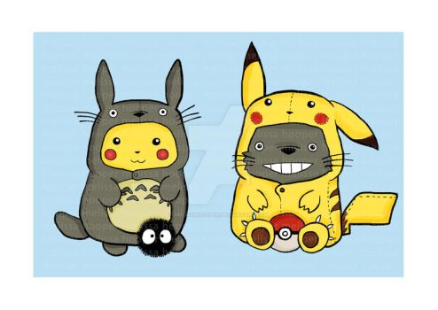 Totoro and Pikachu Onesies by melissahooper