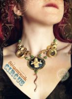 Snake-lady necklace and matching earrings. by Verope