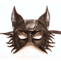 Wolf Fox or Dog Leather Mask in Black by teonova