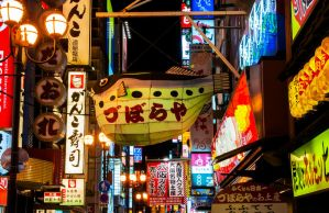 Nightfall in Osaka by maximira
