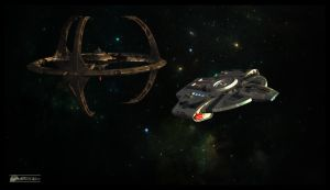 Defiant Departing DS9 by MotoTsume
