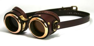 Brass Goggles (brown leather, polished brass) by AmbassadorMann