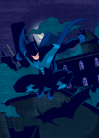 Batman Rooftop Action by onecoyote