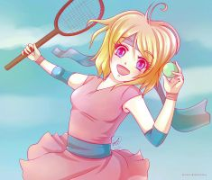 Playing tennis by LOVE--WING