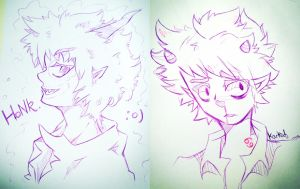 Gamzee and Karkat sketches by AshleiMist