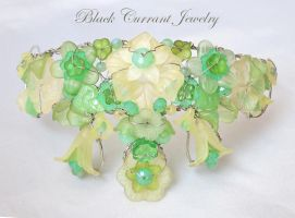 Fantasy Tiara/Crown Green and Silver by blackcurrantjewelry