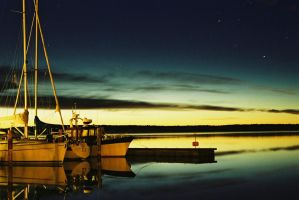 Boats at twilight by celestial-particle