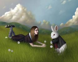 Alice meets the white rabbit by yanmei