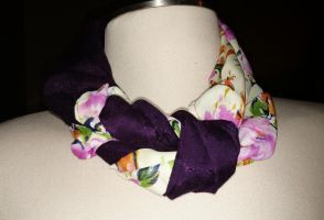 Purples and Florals Braided scarf by PheonixFire91