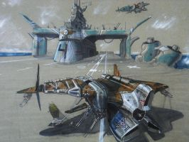 carrier launced vtol gunship by scifieart10000