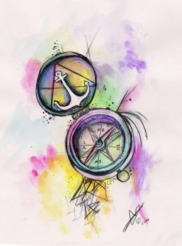 Compass with Anchor by Miamnamina