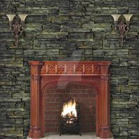 Plain Stone Wall with fireplace and double lights by Spyderwitch