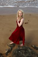 Gabby - red dress on beach by wildplaces