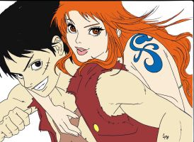 Nami and Luffy work in progress by Namuzza94