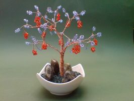 Bonsai Wire Tree Sculpture Beaded Grape by sinisaart