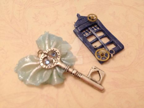 Tardis and Winged Key Charms by Jellyfishcharms