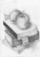 Apples On Books - Still Life029 by hanestetico