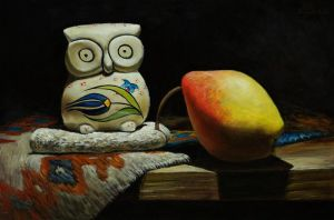 Porcelain owl and pear by marcheba