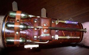 Steampunk Blaster Bracer -top- by Steampunked-Out