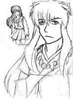 InuYasha and Kagome doodle by AllenLenalee
