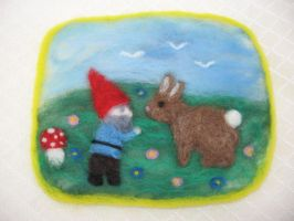 Gnome and Bunny Picture by Elfs-Toyshop