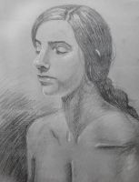 Portrait Of A Woman On Canson by Mekou