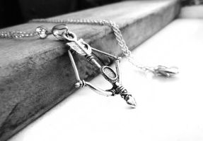 Silver Bow Arrow Charm Silver Necklace by crystaland