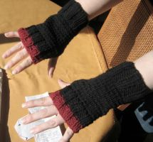 Black and Red fingerless glove by LunarJadeStyles