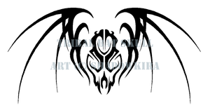 Tribal Skull Bat and Wings by ShadowKira