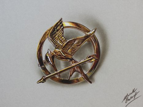 Mockingjay Pin (The Hunger Games) DRAWING by marcellobarenghi