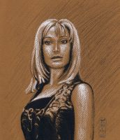 Teyla in Conte Crayons by MyWorld1