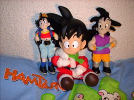 Dragonball plushies Pan and Goku by kratosisy