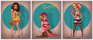 Sleepover Pin Ups by CrystalWallLancaster