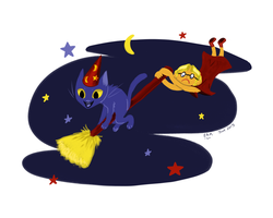 Broomjacking Cat (Day 2: Wizards and Witches) by SunsetCat