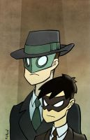 Green Hornet and Kaito by matthewart