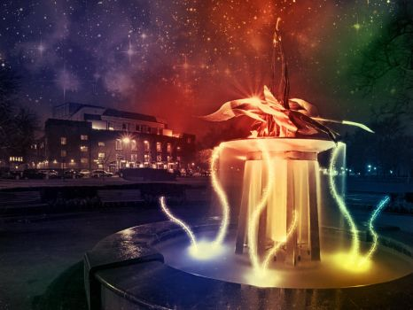 Fountain at night by crazyace11