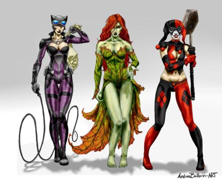 The Gotham City Sirens by AndresBellorin-ART