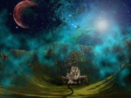 Surreal Castle under a nebula of stars by KendraFitz