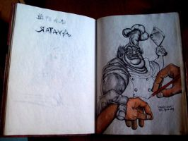 Murderous cook in drawingbook by boy140495
