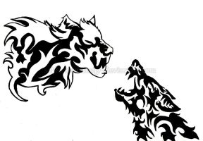 White and Black Wolf Tattoo Design by Sohla-wolf-design