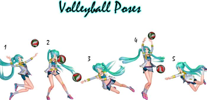 MMD Download {Volleyball Poses} by Devikl