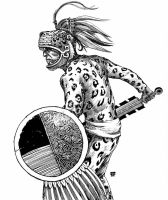 Aztec Jaguar Warrior by artbyjts
