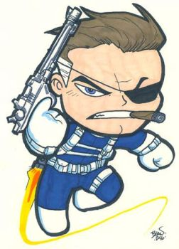 Chibi-Nick Fury. by hedbonstudios