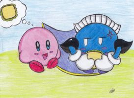 :Kirby and Meta knigth sandwich: by RoseBereArtist