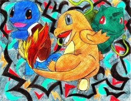Charmander and friends by Macuarrorro